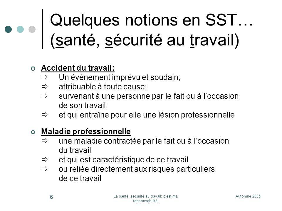 Quelques notions en SST… (santé, sécurité au travail)