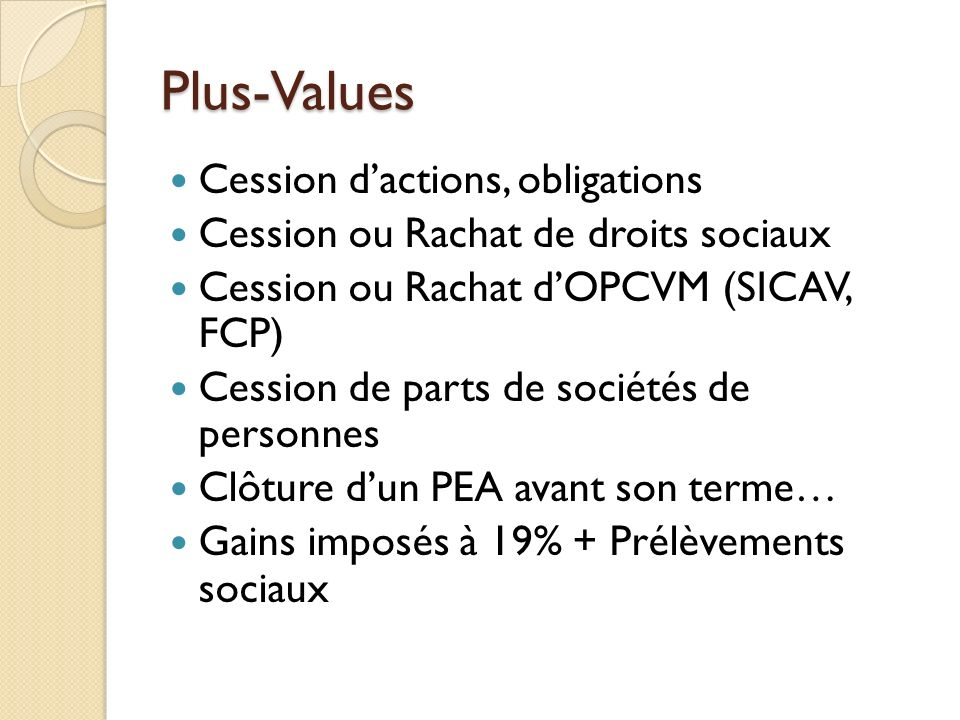 Plus-Values Cession d'actions, obligations