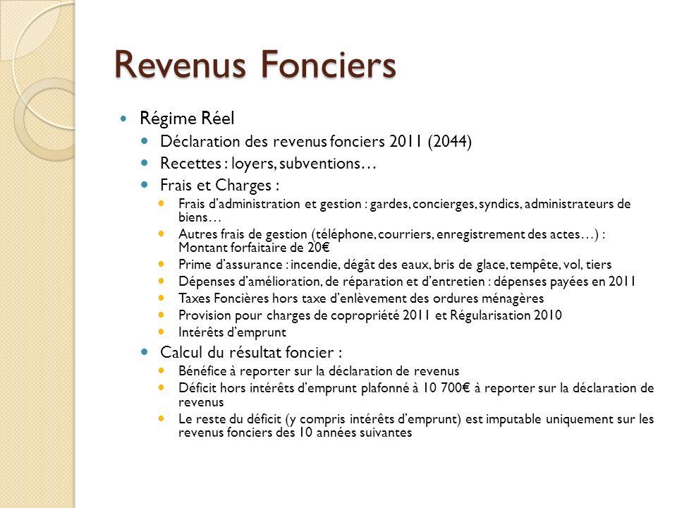 Revenus Fonciers Régime Réel
