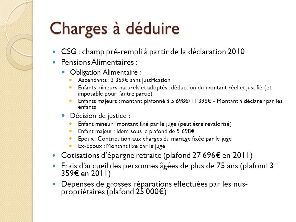 Charges à déduire CSG : champ pré-rempli à partir de la déclaration 2010. Pensions Alimentaires : Obligation Alimentaire :