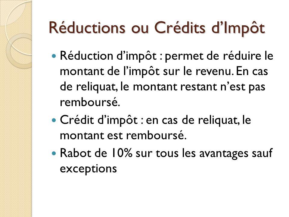 Réductions ou Crédits d'Impôt