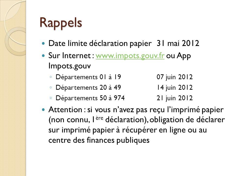 Rappels Date limite déclaration papier 31 mai 2012