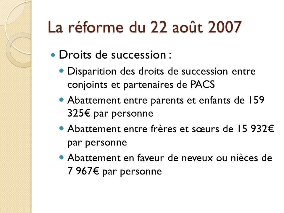 La réforme du 22 août 2007 Droits de succession :