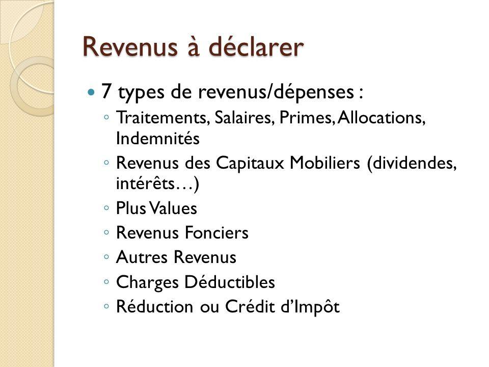 Revenus à déclarer 7 types de revenus/dépenses :