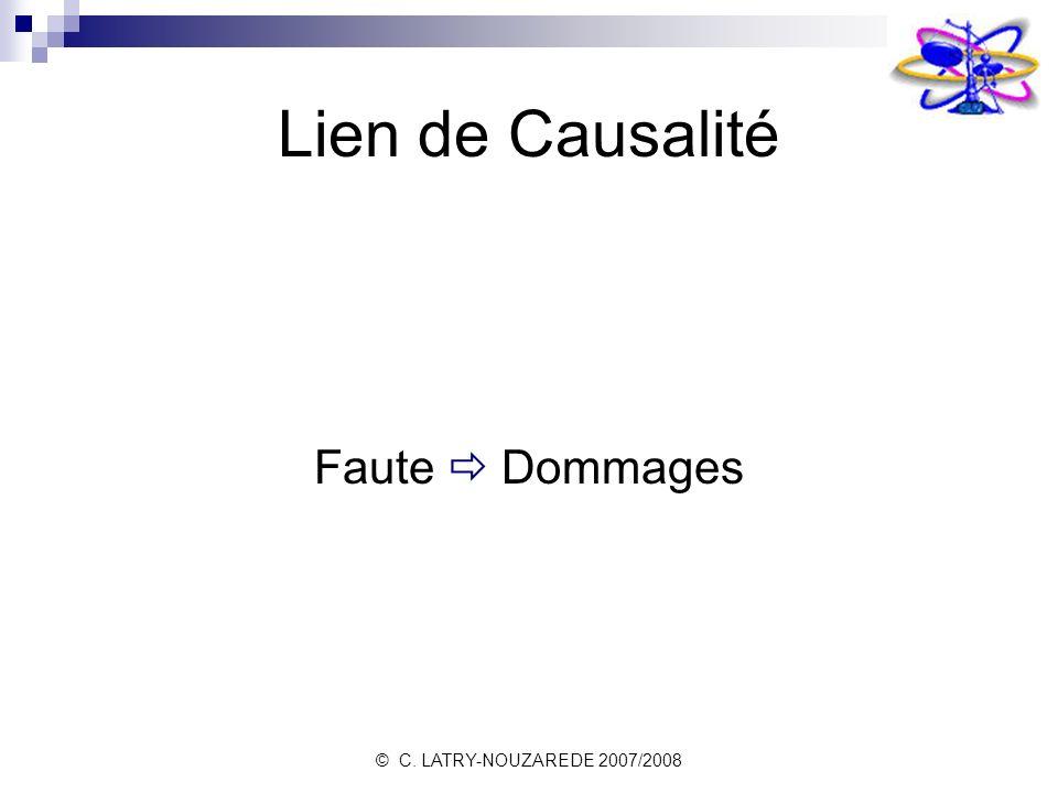 Lien de Causalité Faute  Dommages © C. LATRY-NOUZAREDE 2007/2008