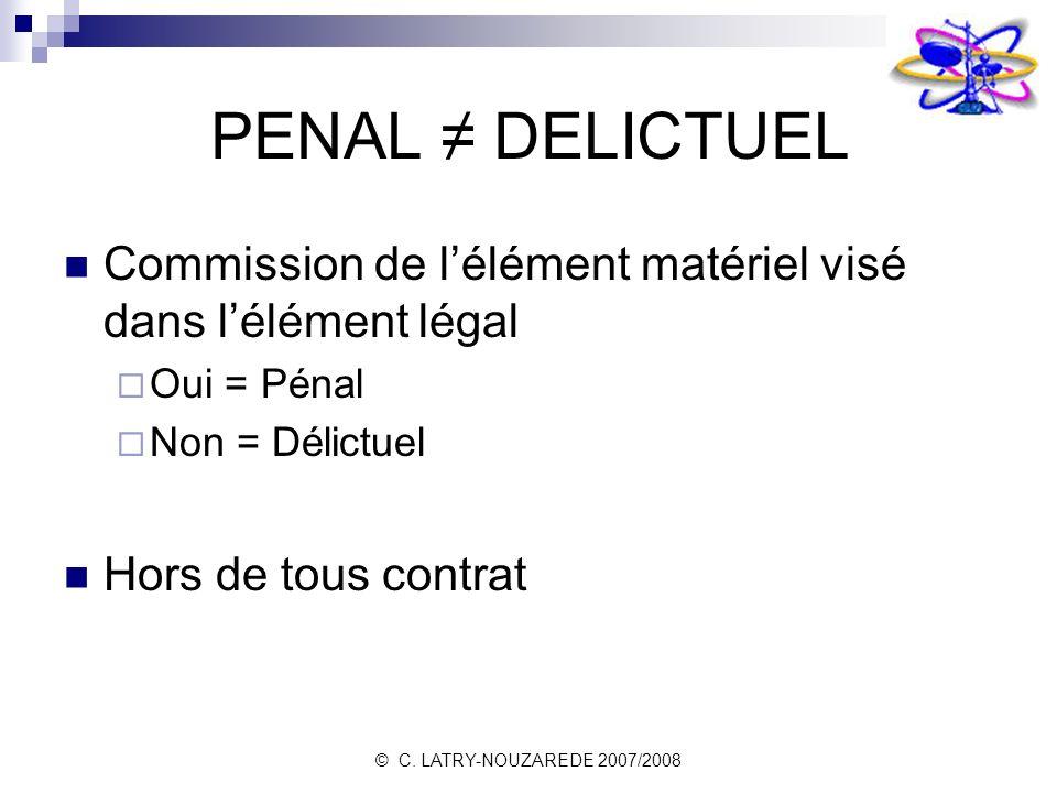 PENAL ≠ DELICTUEL Commission de l'élément matériel visé dans l'élément légal. Oui = Pénal. Non = Délictuel.