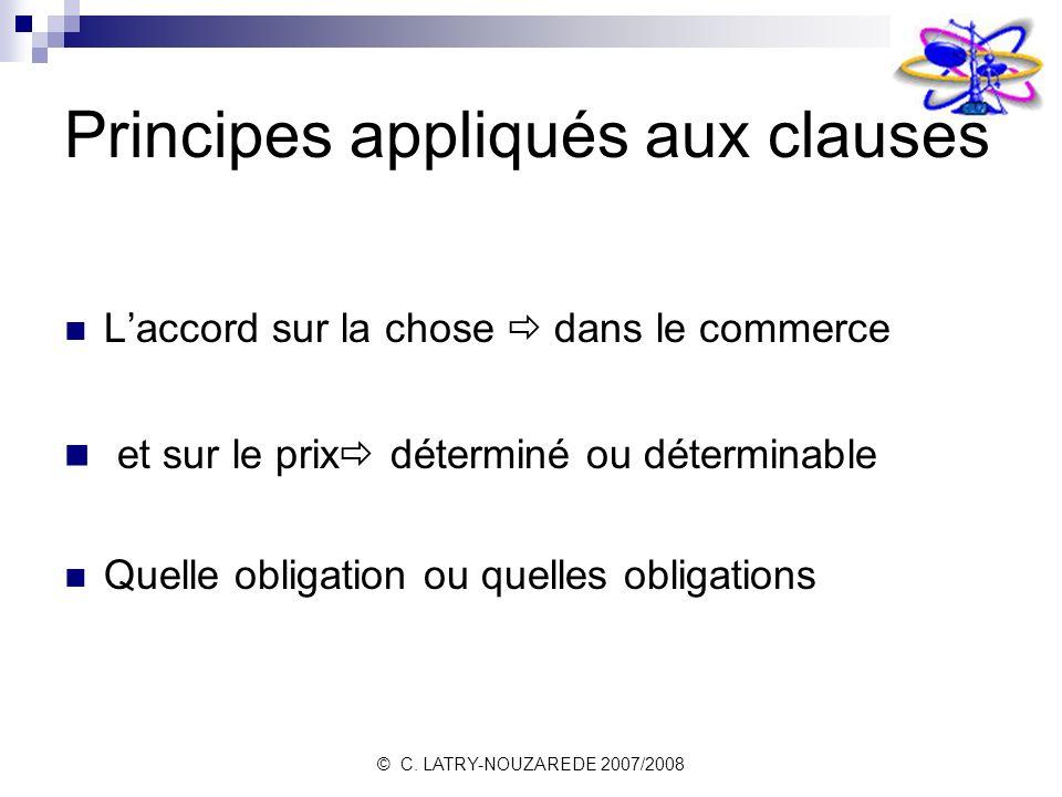 Principes appliqués aux clauses