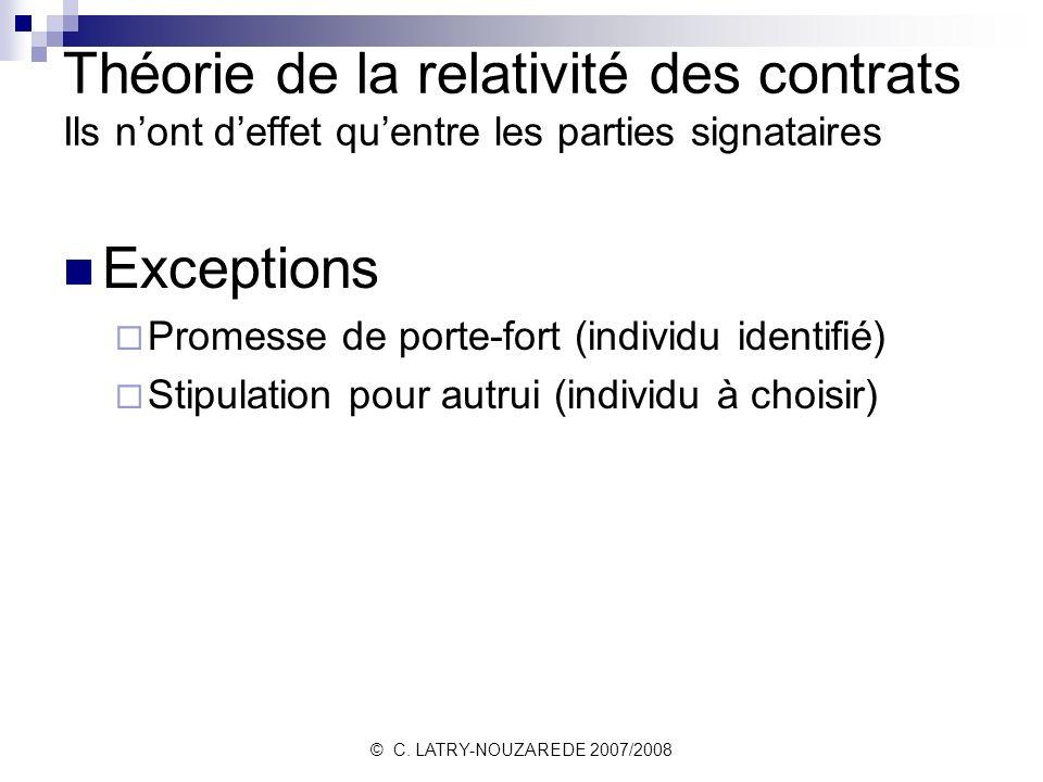 Théorie de la relativité des contrats Ils n'ont d'effet qu'entre les parties signataires