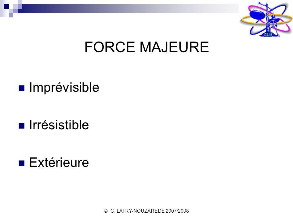 FORCE MAJEURE Imprévisible Irrésistible Extérieure 