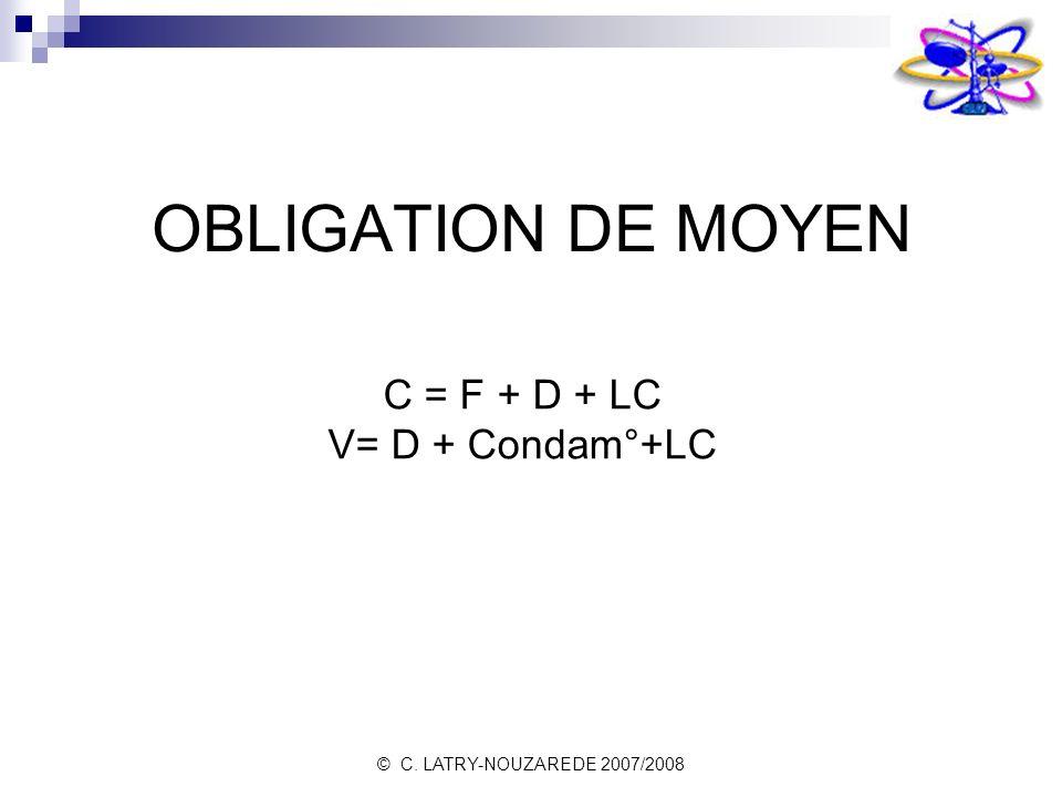 OBLIGATION DE MOYEN C = F + D + LC V= D + Condam°+LC