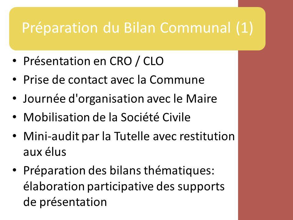 Préparation du Bilan Communal (1)