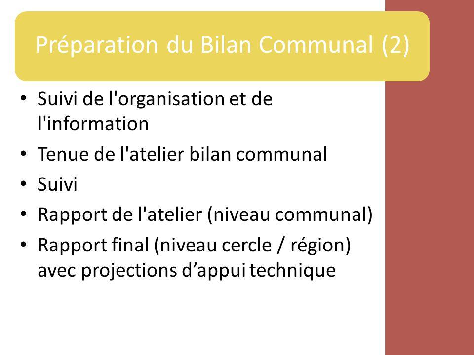 Préparation du Bilan Communal (2)