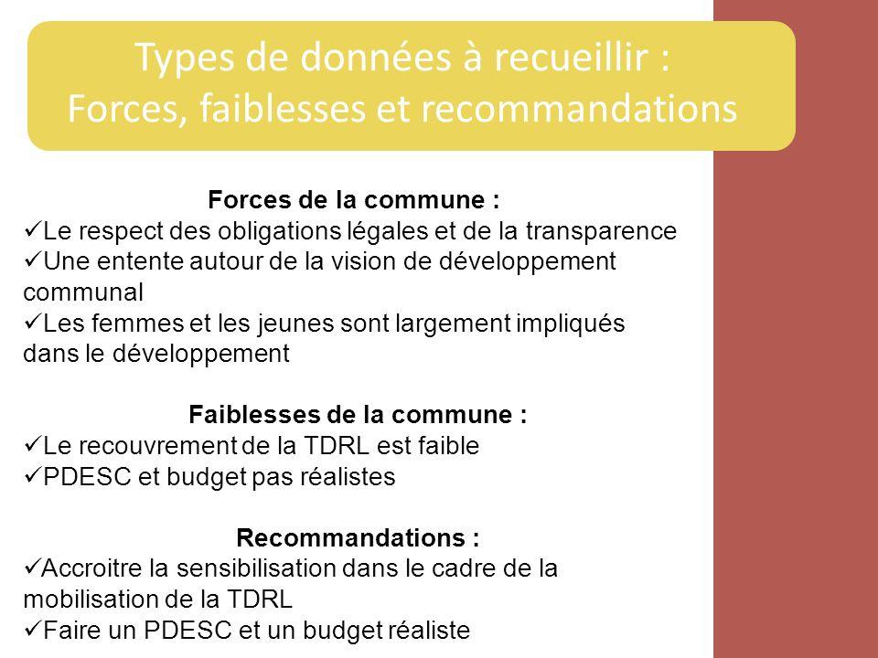 Types de données à recueillir : Forces, faiblesses et recommandations