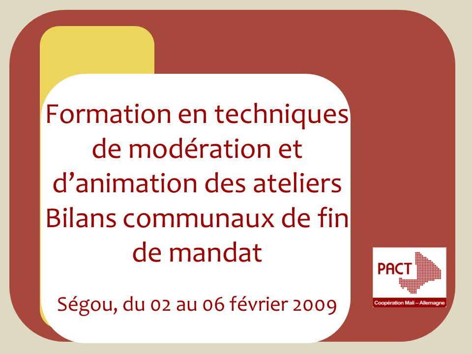 Formation en techniques de modération et d'animation des ateliers Bilans communaux de fin de mandat