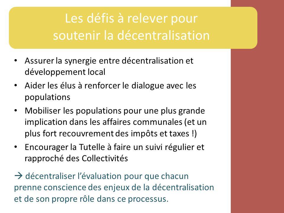 Les défis à relever pour soutenir la décentralisation