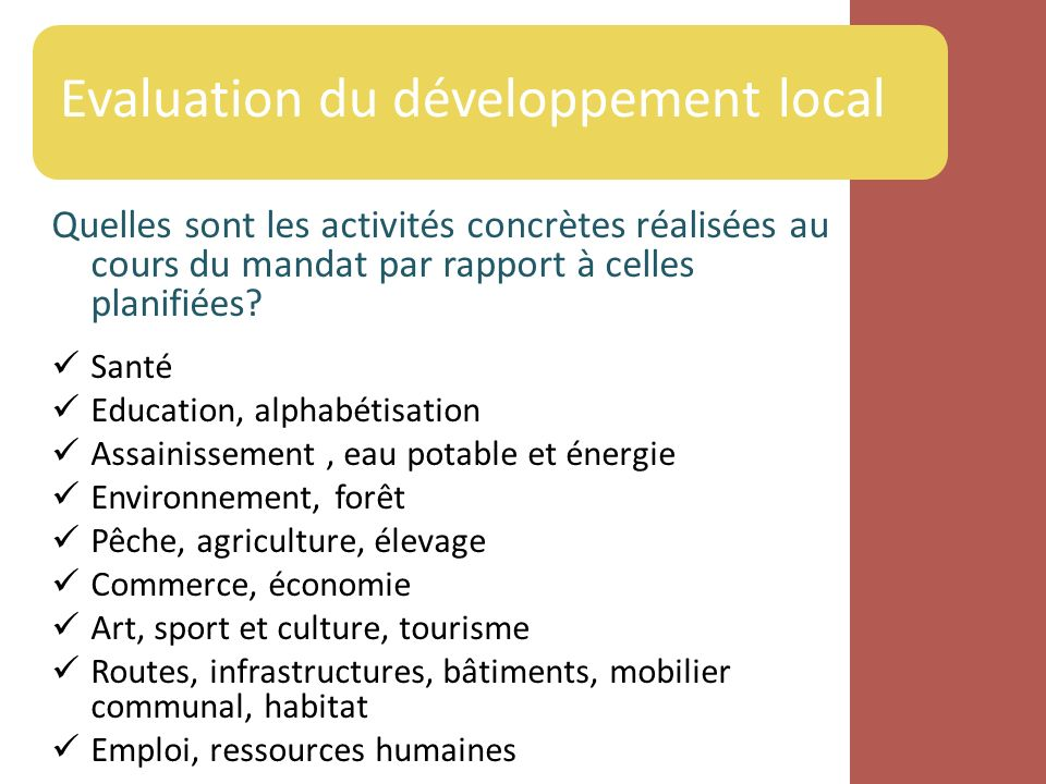 Evaluation du développement local