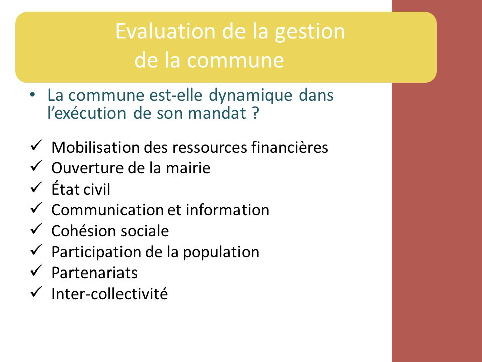 Evaluation de la gestion de la commune