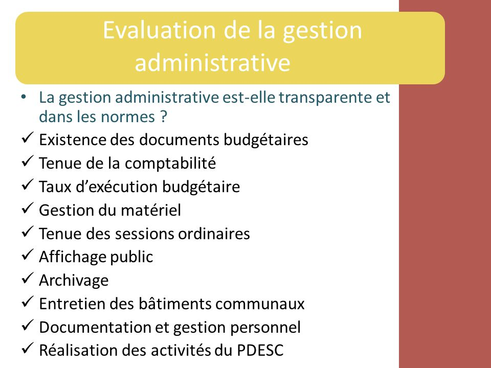 Evaluation de la gestion administrative