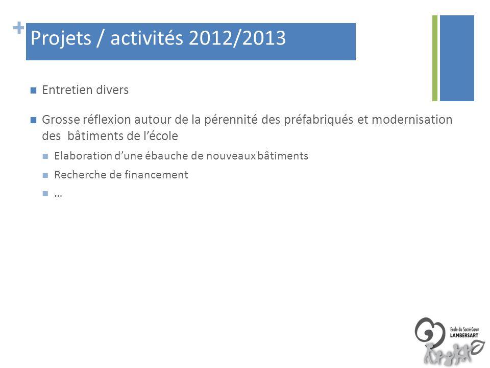 Projets / activités 2012/2013 Entretien divers