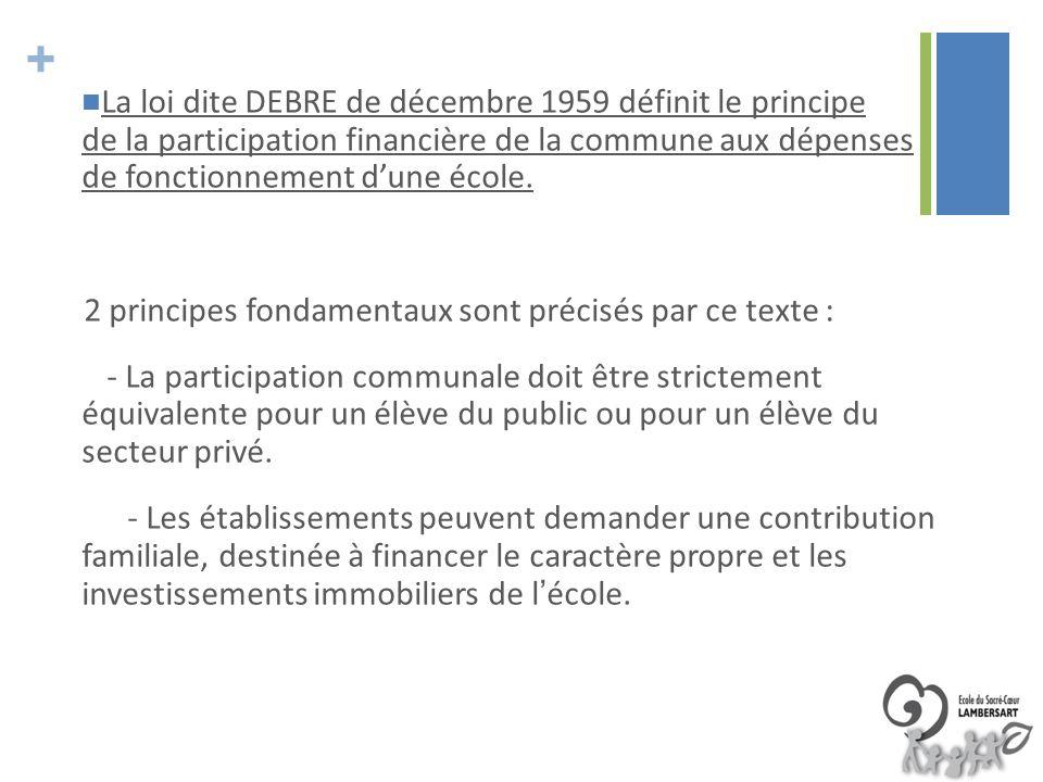 La loi dite DEBRE de décembre 1959 définit le principe de la participation financière de la commune aux dépenses de fonctionnement d'une école.