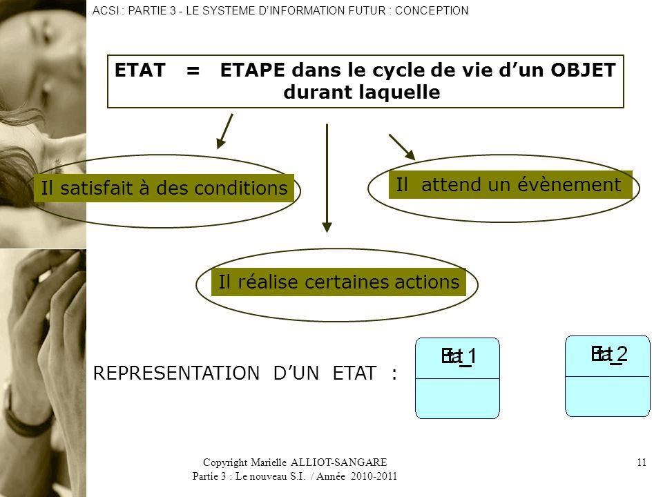 ETAT = ETAPE dans le cycle de vie d'un OBJET