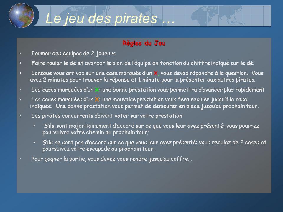 Le jeu des pirates … Règles du Jeu Former des équipes de 2 joueurs