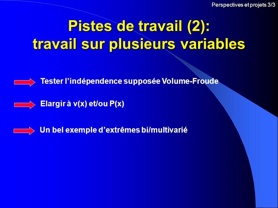 Pistes de travail (2): travail sur plusieurs variables