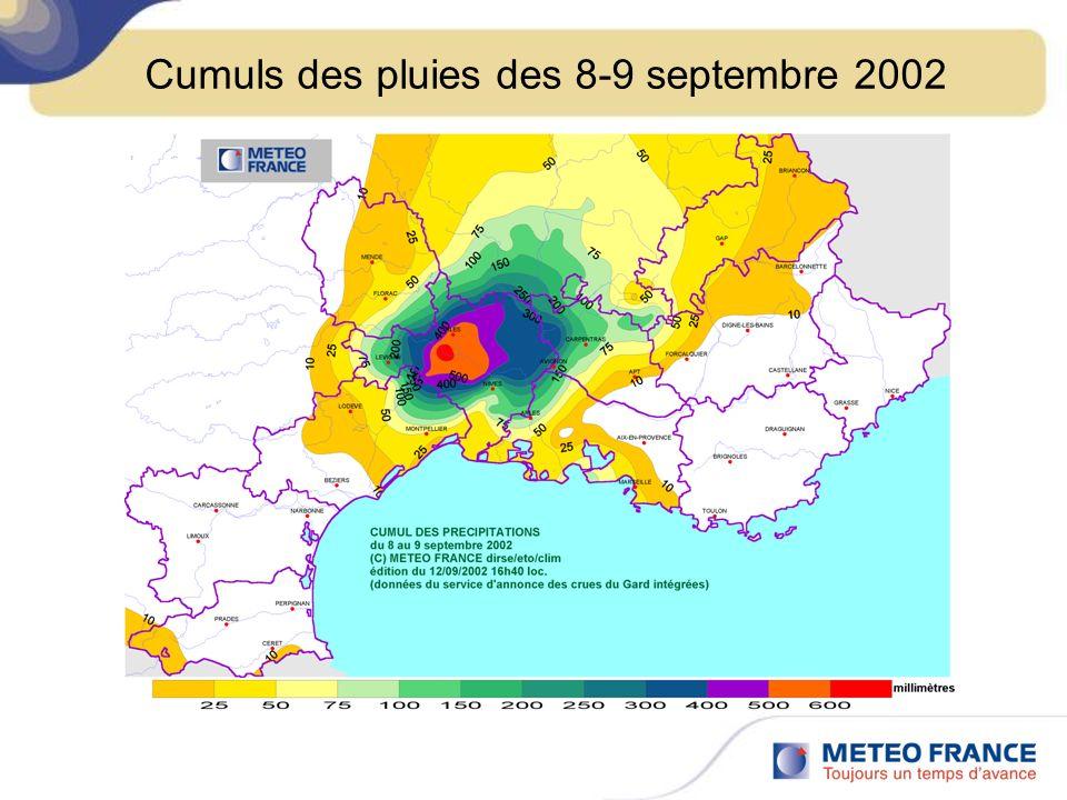 Cumuls des pluies des 8-9 septembre 2002