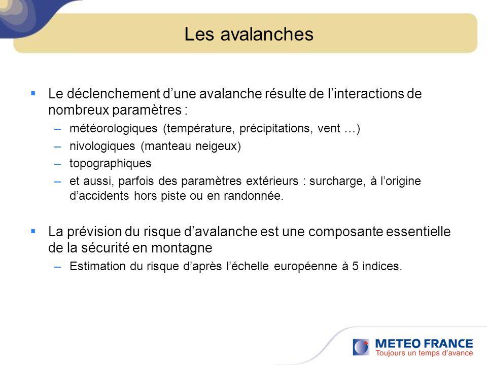 Les avalanches Le déclenchement d'une avalanche résulte de l'interactions de nombreux paramètres :