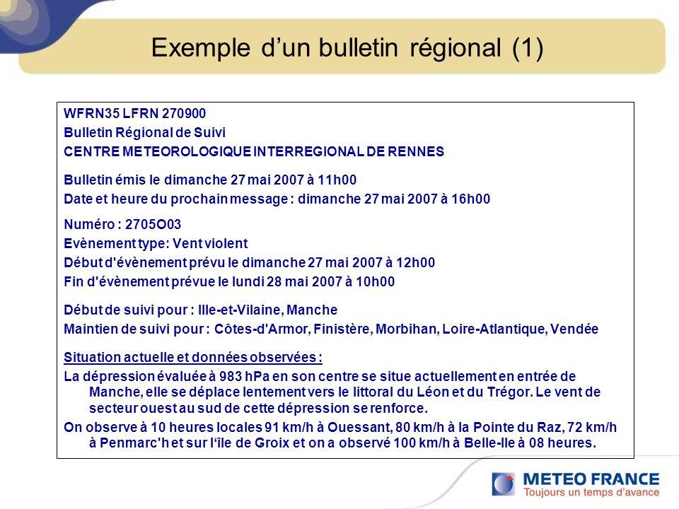 Exemple d'un bulletin régional (1)