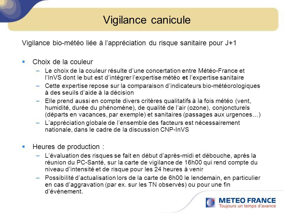 Vigilance canicule Vigilance bio-météo liée à l'appréciation du risque sanitaire pour J+1. Choix de la couleur.