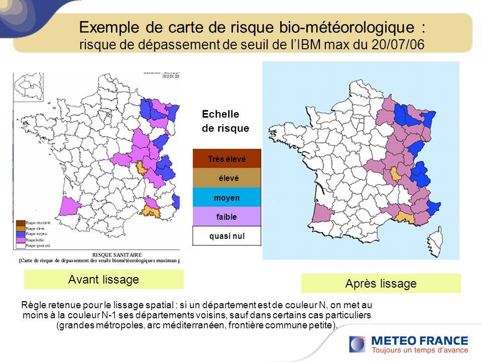 Exemple de carte de risque bio-météorologique : risque de dépassement de seuil de l'IBM max du 20/07/06