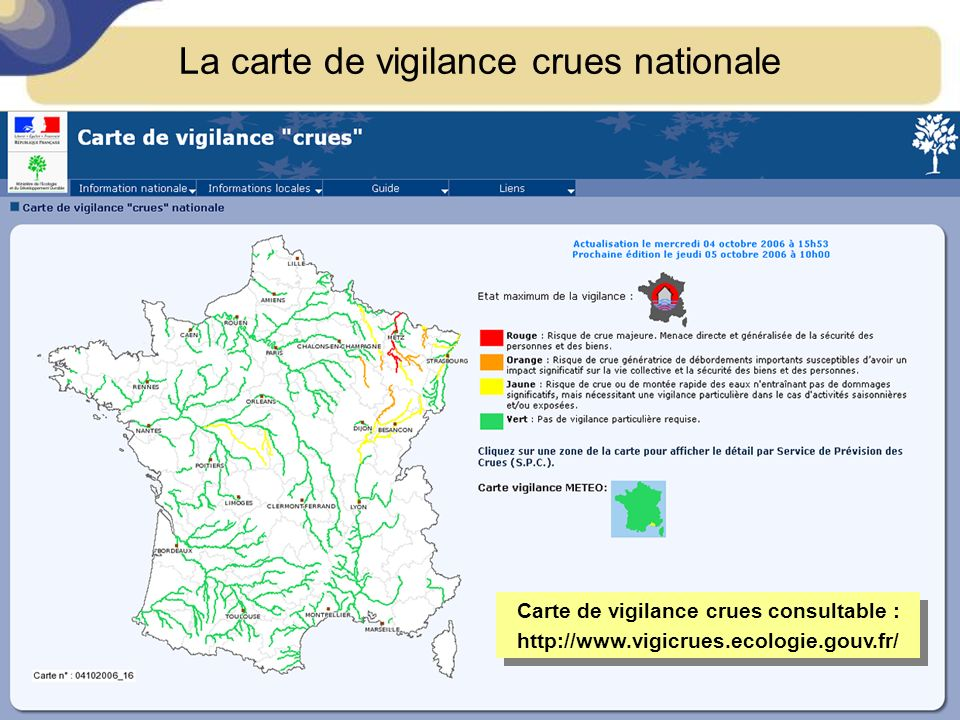 La carte de vigilance crues nationale