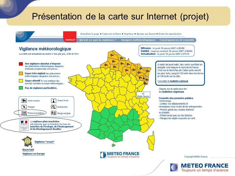 Présentation de la carte sur Internet (projet)