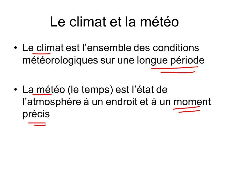 Le climat et la météo Le climat est l'ensemble des conditions météorologiques sur une longue période.