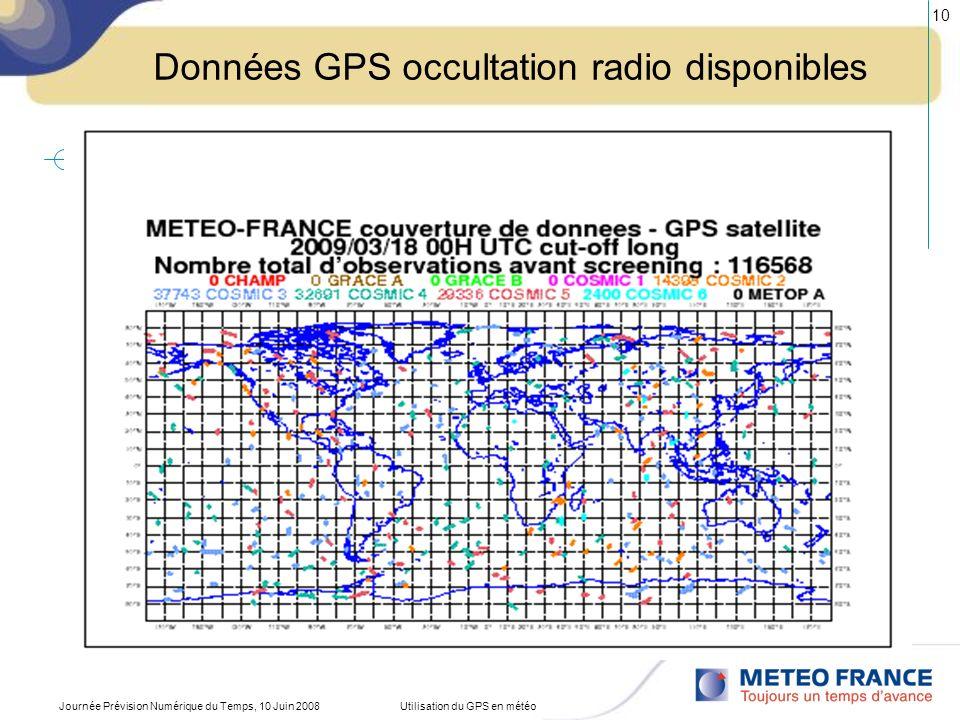 Données GPS occultation radio disponibles