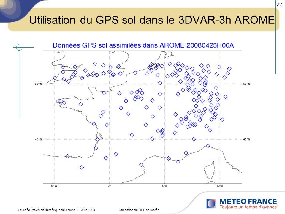 Utilisation du GPS sol dans le 3DVAR-3h AROME