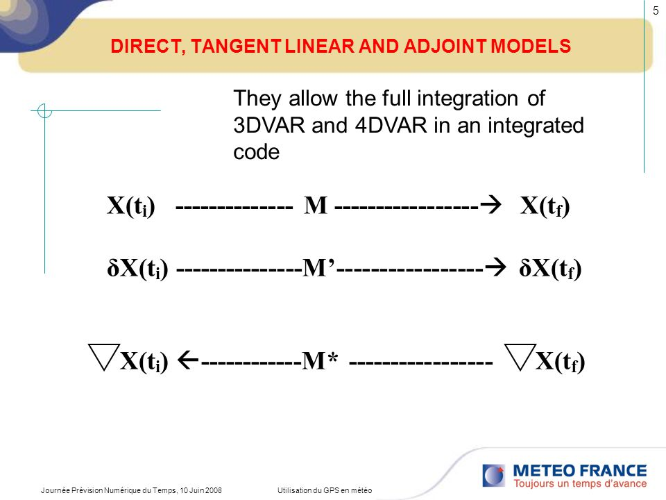 DIRECT, TANGENT LINEAR AND ADJOINT MODELS