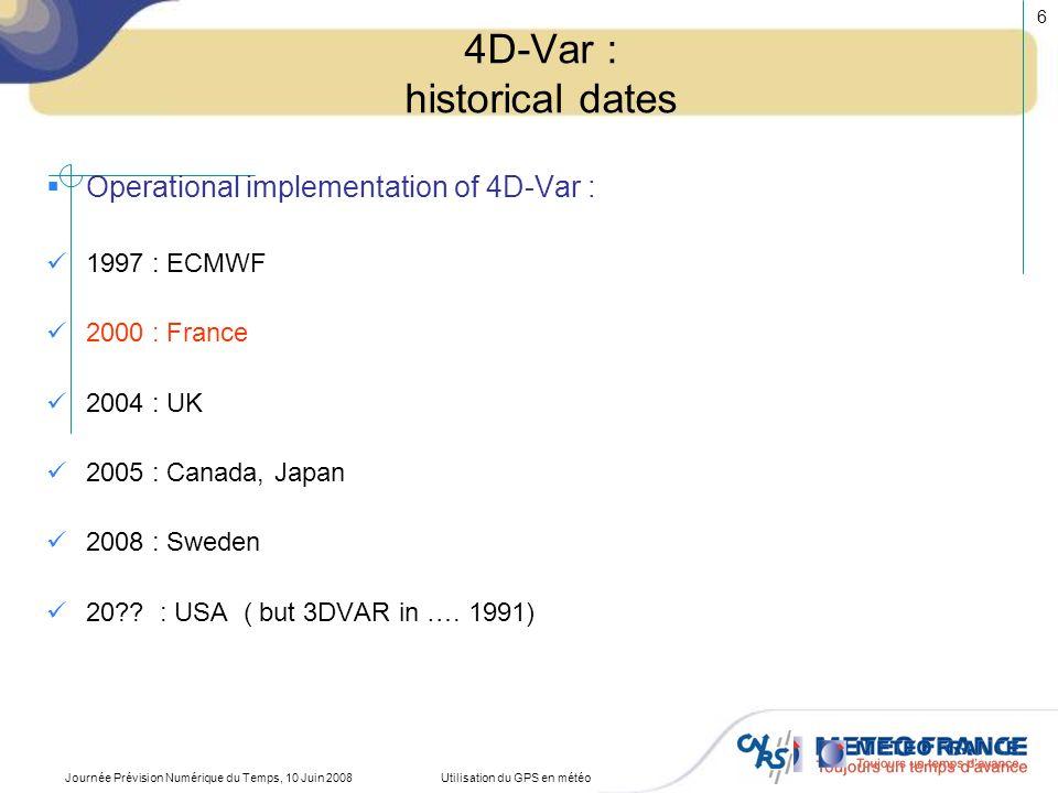 4D-Var : historical dates