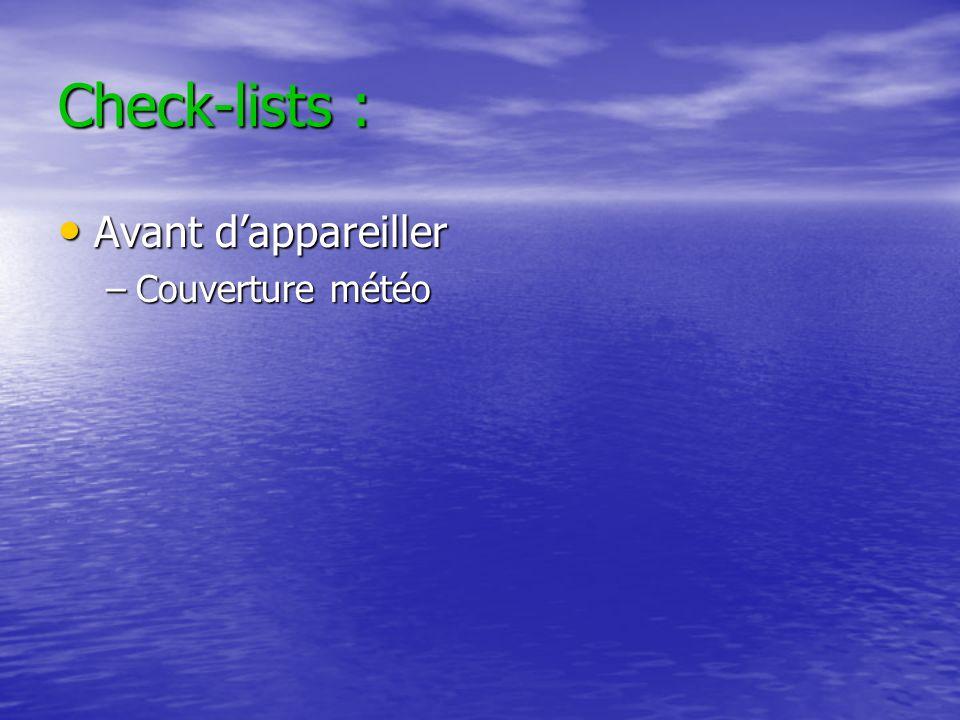 Check-lists : Avant d'appareiller Couverture météo