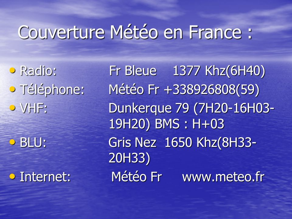Couverture Météo en France :