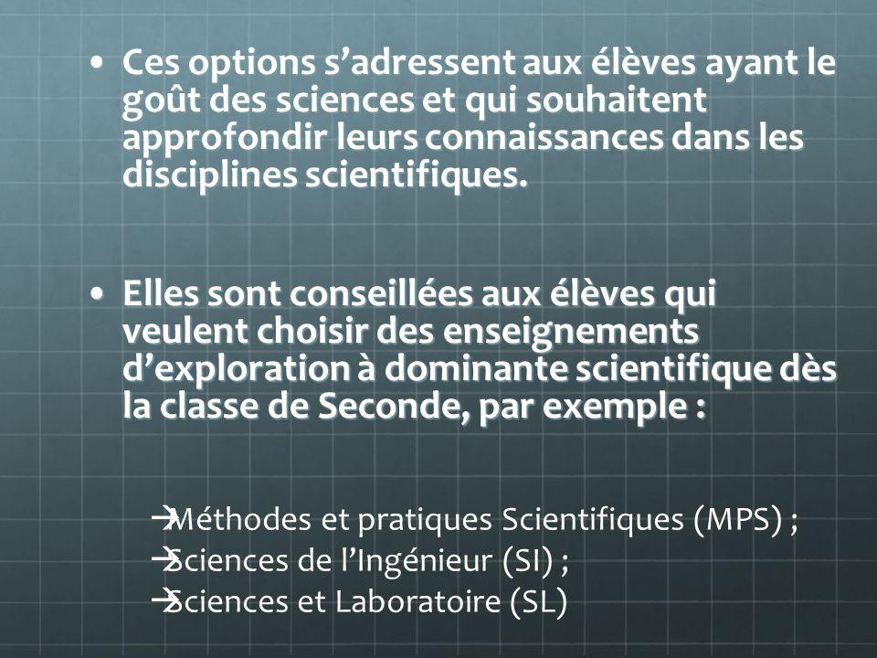 Ces options s'adressent aux élèves ayant le goût des sciences et qui souhaitent approfondir leurs connaissances dans les disciplines scientifiques.