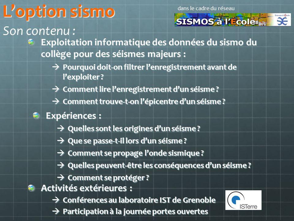 L'option sismo Son contenu :