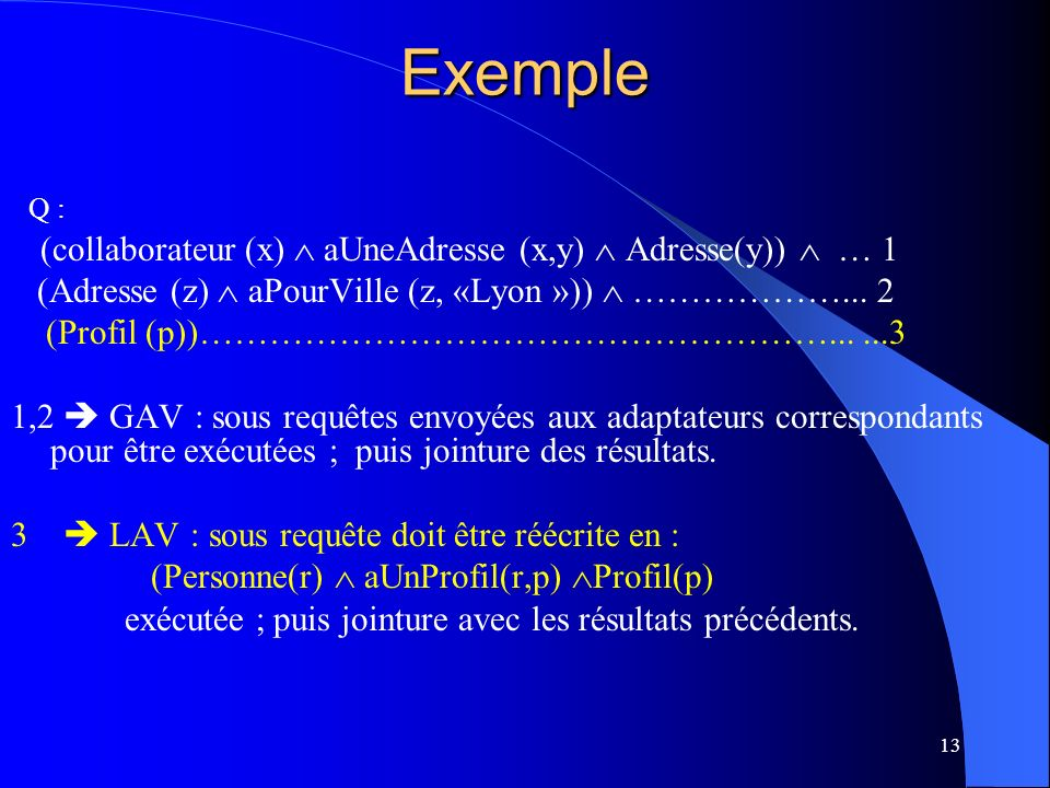 Exemple Q : (Adresse (z)  aPourVille (z, «Lyon »))  ………………... 2