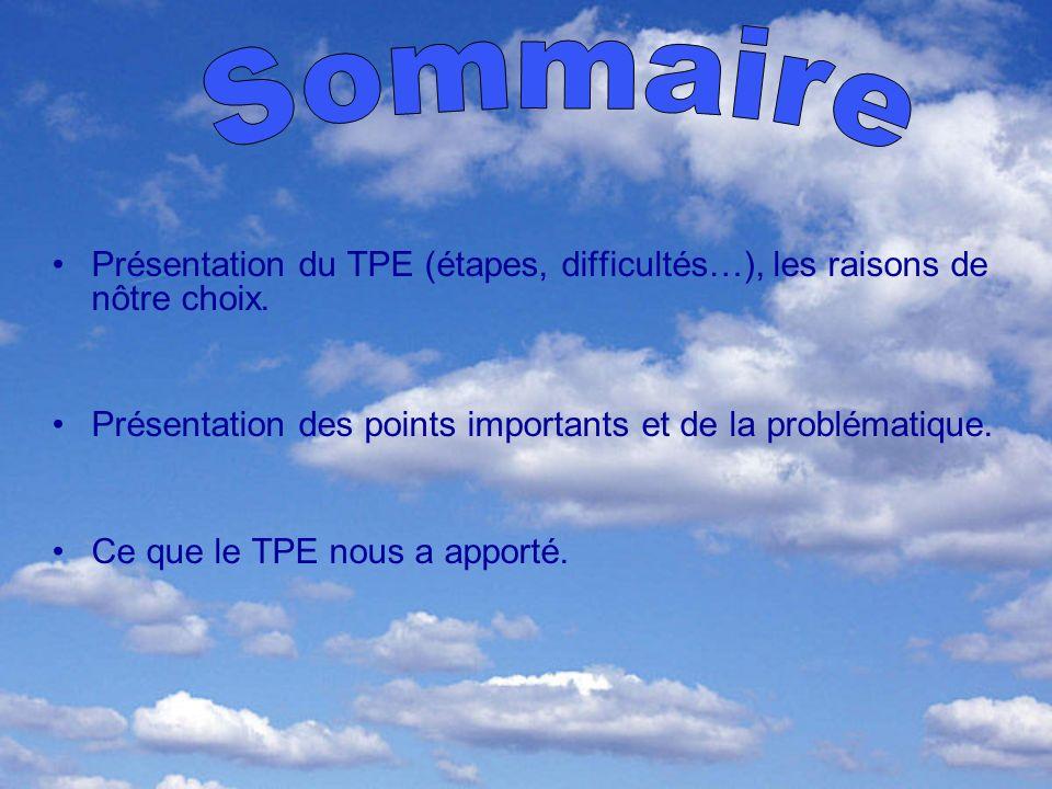 Sommaire Présentation du TPE (étapes, difficultés…), les raisons de nôtre choix. Présentation des points importants et de la problématique.