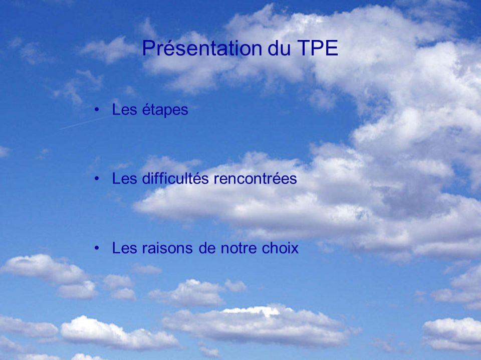 Présentation du TPE Les étapes Les difficultés rencontrées