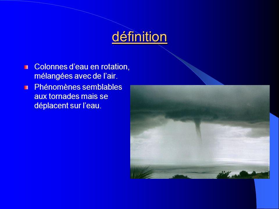définition Colonnes d'eau en rotation, mélangées avec de l'air.