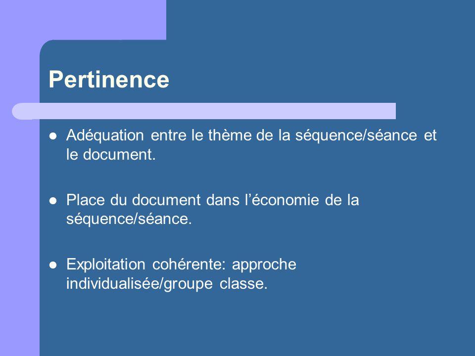 Pertinence Adéquation entre le thème de la séquence/séance et le document. Place du document dans l'économie de la séquence/séance.