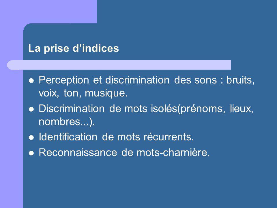 La prise d'indices Perception et discrimination des sons : bruits, voix, ton, musique. Discrimination de mots isolés(prénoms, lieux, nombres...).