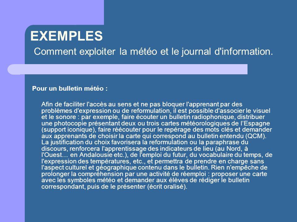 EXEMPLES Comment exploiter la météo et le journal d information.